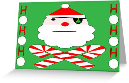 hohoho jolly roger santa card by dedmanshootn