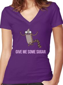 Gimme Some Sugar! - Regular Show (Text Version) Women's Fitted V-Neck T-Shirt