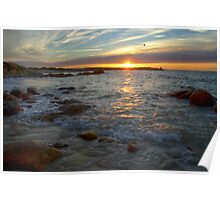 Landrellec, Cote de granit rose, sunset in HDR Poster
