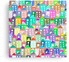 Houses . Hand drawn pattern Canvas Print