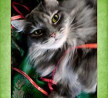 Sweet Pea Kitty Cat Christmas Card   by LouiseK