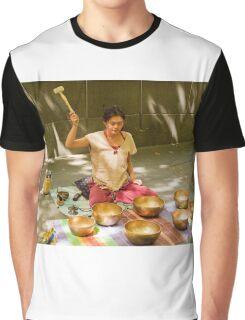 0462 Playing Tibetan Singing Bowls Graphic T-Shirt