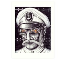 Captain colored pencils drawing Art Print