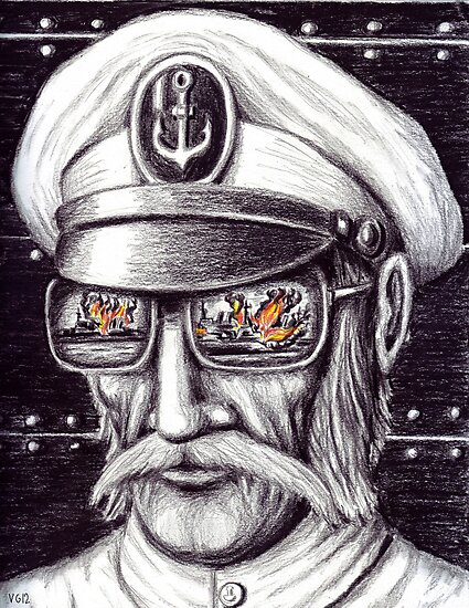 Captain colored pencils drawing by Vitaliy Gonikman