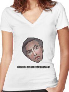 Kommen sie bitte und listen to Kraftwerk! - Alan Partridge Tee Women's Fitted V-Neck T-Shirt