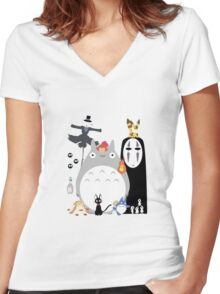 Studio Ghibli Gang Women's Fitted V-Neck T-Shirt