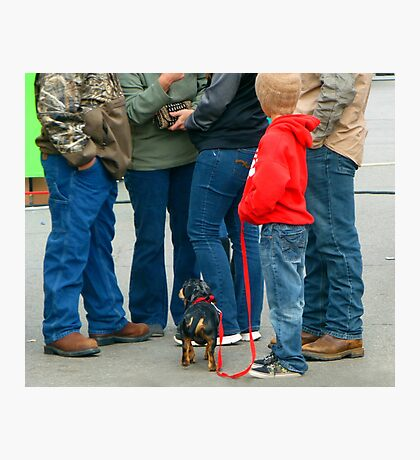 Kids and Puppies...and Blue Jeans Photographic Print