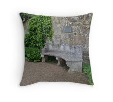 Old Stone Seat against Wall Throw Pillow