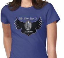 My Blood Type Is Stefan Red & Black VD Fan Logo Womens Fitted T-Shirt
