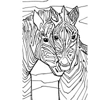 Zebra, coloring book page Photographic Print