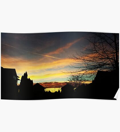 Sunset over Suburbia Poster