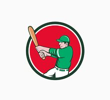 Baseball Player Batter Swinging Bat Circle Cartoon Unisex T-Shirt