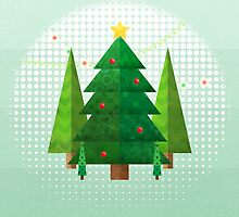 Abstract Geometric Christmas Trees by noondaydesign