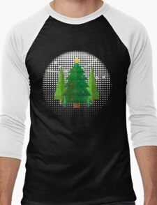 Abstract Geometric Christmas Trees Men's Baseball ¾ T-Shirt