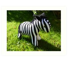Hand Knitted toy Zebra Art Print