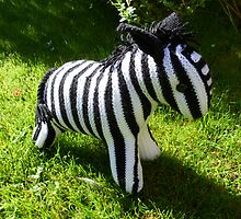 Hand Knitted toy Zebra by mrsmcvitty