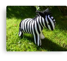 Hand Knitted toy Zebra Canvas Print