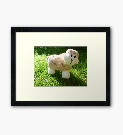 Hand Knitted toy Sheep Framed Print