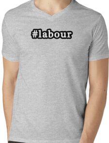 Labour - Hashtag - Black & White Mens V-Neck T-Shirt