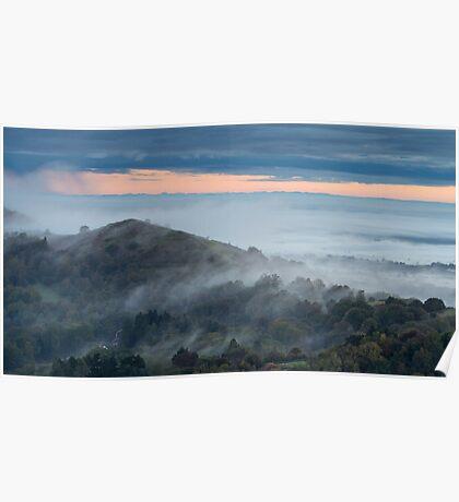 Rising through the Mist, Malvern Hills, Worcestershire Poster