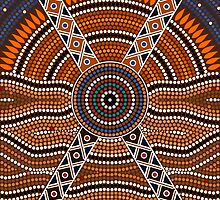 An illustration based on aboriginal style of dot painting depicting secret by dedoma