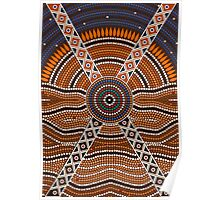 An illustration based on aboriginal style of dot painting depicting secret Poster