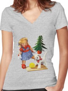 Knitted out for Christmas - Vintage Retro Tee Women's Fitted V-Neck T-Shirt