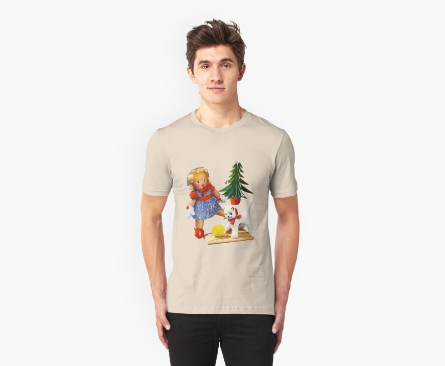 Knitted out for Christmas - Vintage Retro Tee by Heather Buckley