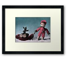 Vintage Retro Christmas Card Framed Print