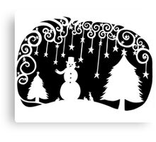 swirly snowman - black Canvas Print
