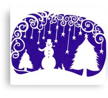 swirly snowman - purple Canvas Print