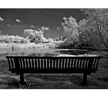 Infrared - Park bench Photographic Print