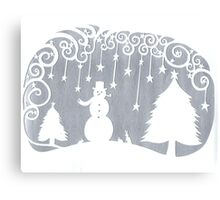 swirly snowman - silver Canvas Print