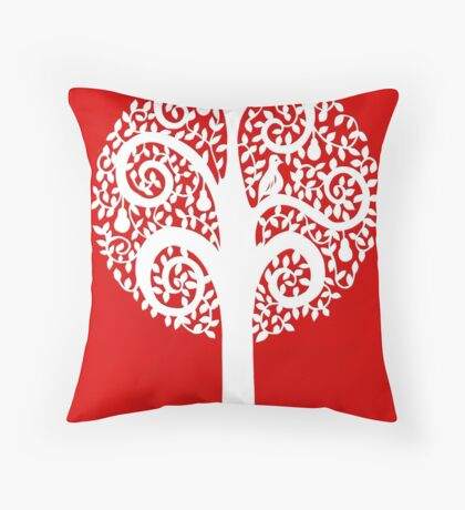 partridge in a pear tree - red Throw Pillow