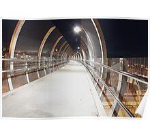 Futuristic metal pedestrian bridge over road, Sydney, Australia Poster