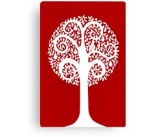 partridge in a pear tree - dark red Canvas Print