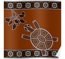 An illustration based on aboriginal style of dot painting depicting turtle Poster