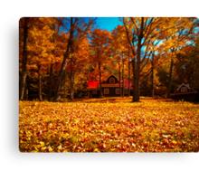 Fall Glory ~ Isolated Cottage Enveloped in Orange Foliage Canvas Print