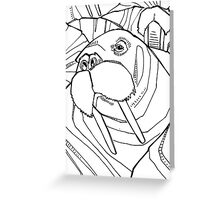 Walrus, coloring book page Greeting Card