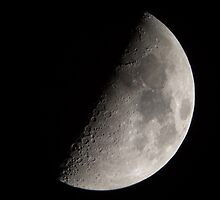 Waxing First Quarter Half Moon by Richard J. Bartlett