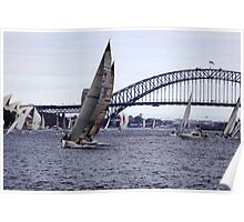 Yachts and Harbour Bridge with Opera house in background, Sydney, Australia  Poster