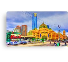 Swanston and Flinders Street Melbourne on 16 June 2015 - Melbourne, Victoria Canvas Print