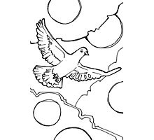 Rock pigeon, coloring book image Photographic Print