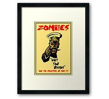 Zombie Recruitment Poster Framed Print