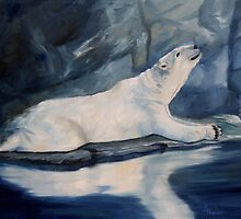 Praying Polar Bear Original Oil Painting by Brenda Thour