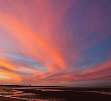 Sunset reflections at Hervey Bay by Greta van der Rol