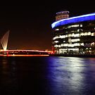 MediaCityUK and Media Bridge by Night by Ana Cunha