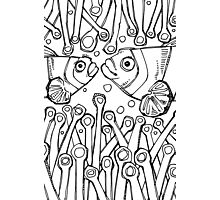 Clownfish, coloring book page Photographic Print