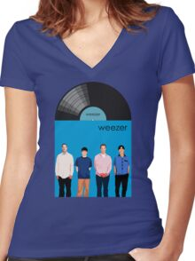 Weezer - Blue Album Women's Fitted V-Neck T-Shirt