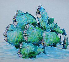 Bump Headed Parrot Fish School Study by Cary McAulay